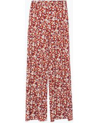 Zara Printed Wide-Leg Trousers - Lyst