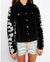 American Retro - Diamond Bomber Jacket With Contrast Sleeves - Lyst