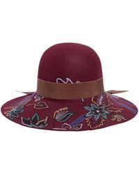 Etro Floral Hand-Embroidered Wool Hat purple - Lyst