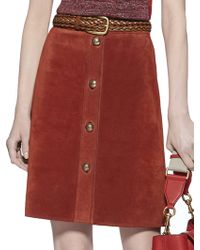 Gucci Suede Button-Front Skirt - Lyst