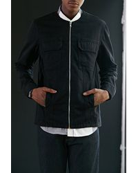 Cheap Monday Ikon Collarless Denim Jacket - Lyst