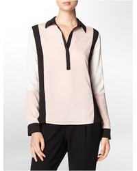 Calvin Klein White Label Colorblock V-Neck Collared Top - Lyst
