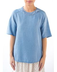 3.1 Phillip Lim | Denim Frayed Shirt With Embellished Neck | Lyst