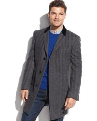Tommy Hilfiger Grey Herringbone Overcoat - Lyst