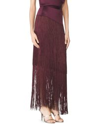 Tamara Mellon Layered Fringe Skirt purple - Lyst