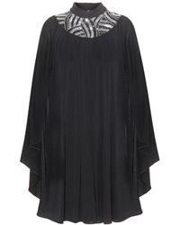 Saint Laurent Embellished Cape Dress - Lyst