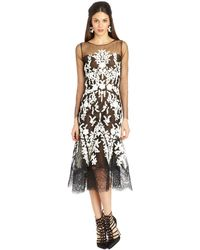 Oscar de la Renta Embroidered Lace and Tulle Illusion Dress - Lyst