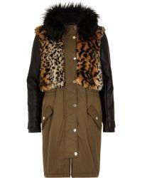 River Island Khaki Faux Fur Leather-look Parka Jacket - Lyst