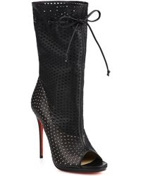 Christian Louboutin Jennifer Perforated Leather Open-Toe Boots - Lyst
