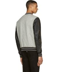 Diesel Grey Leather and Wool L_petro Varsity Jacket - Lyst