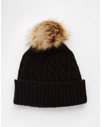 ASOS | Cable Faux Fur Pom Beanie | Lyst