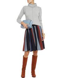 Chloé Striped Silk Crepe De Chine Skirt - Lyst