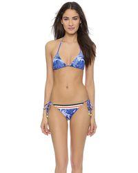 Preen Lola String Bikini - Navy Flower Scarf - Lyst