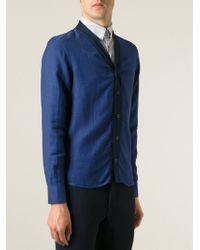 Giorgio Armani Contrast Placket Cardigan blue - Lyst