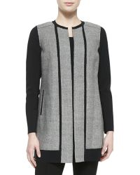 Elie Tahari Melody Long Jewel-neck Contrast Coat - Lyst