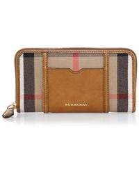 Burberry Ziggy House Check & Leather Continental Wallet brown - Lyst