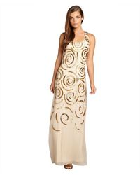 Aidan Mattox Nude and Gold Sequin Embellished Racerback Chiffon Gown - Lyst