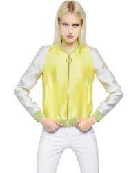 Versace Two Tone Duchesse Satin Bomber Jacket - Lyst