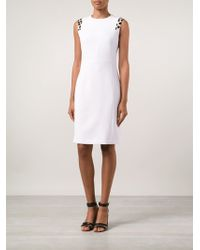 Edun Contrasting Shoulder Detail Fitted Dress - Lyst