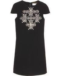 Saint Laurent Embellished Wool Dress - Lyst