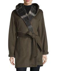 Vera Wang - Hooded Long-sleeve Coat W/self Belt - Lyst