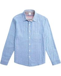 0c944a7cf1 Lyst - Faherty Brand Knit Chambray Belmar Shirt in Blue for Men