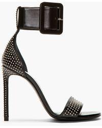 Saint Laurent - Black Leather Studded Jane Sandals - Lyst