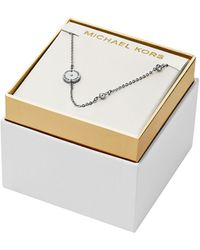 Michael Kors Silver Tone Crystal Station Necklace - Lyst
