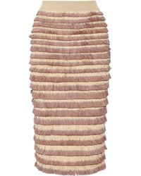 Burberry Prorsum Fringed Knitted Cotton-Blend Midi Skirt pink - Lyst