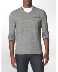 Calvin Klein Slim Fit Faux Double Layer Cotton V-Neck Shirt - Lyst