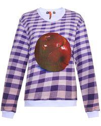 MSGM Apple-Print Checked Sweatshirt - Lyst