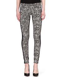 Roberto Cavalli Tweedprint Skinny Midrise Jeans Blk - Lyst