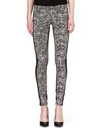 Roberto Cavalli Tweed-print Skinny Mid-rise Jeans - Lyst