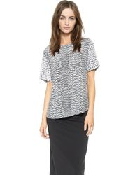 Equipment Riley Tee with Contrast Sleeves - Bright White Multi - Lyst