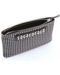 DANNIJO - Black And White Houndstooth Leather 'viper' Clutch - Lyst