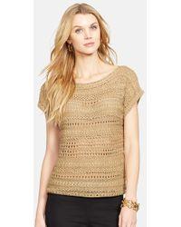 Lauren by Ralph Lauren Open Stitch Bateau Neck Sweater - Lyst