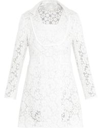 Honor Lace And Leather-Trimmed Coat white - Lyst