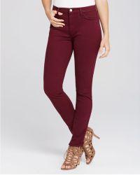 Jen7 - Brush Sateen Skinny Jeans In Burgundy - Lyst