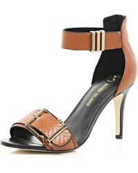River Island Tan Buckle Trim Barely There Sandals - Lyst
