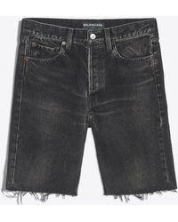Balenciaga - Pantalón corto de denim con acabado sin rematar - Lyst