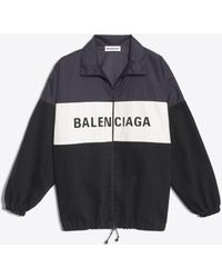 Balenciaga - Nylon Logo Denim Jacket - Lyst