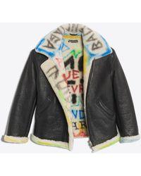 Balenciaga Graffiti Shearling Jacket