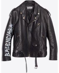 Balenciaga - Painted Biker Jacket - Lyst
