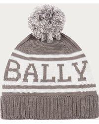Bally - Knitted Cotton Beanie Men's Cotton Knit Pompom Beanie In Grey - Lyst