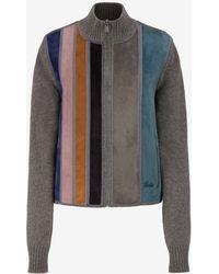 Bally - Striped Suede Wool Sweater - Lyst
