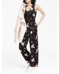 04b574be9e7 Banana Republic - Petite Floral V-neck Wide-leg Jumpsuit - Lyst