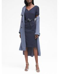 Banana Republic - Petite Washable Italian Wool-blend V-back Sheath Dress - Lyst