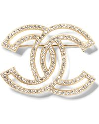 Banana Republic - Luxe Finds   Chanel Gold Crystal Logo Pin - Lyst