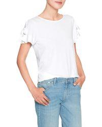 Banana Republic Factory - Stripe Cascade Ruffle Designer T Shirt - Lyst