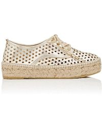 Loeffler Randall - Alfie Perforated Leather Espadrille Trainers - Lyst